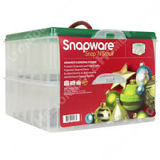 snapware 13x13 2 layer christmas ornament keeper storage box with