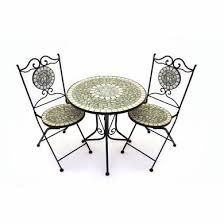 Garden Bistro Table Captivating Mosaic Bistro Table And Chairs With Cracked Pearl Iron
