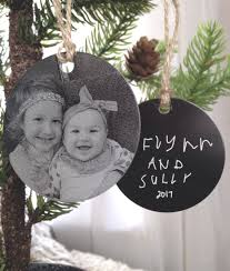 personalized photo ornament two inch circle engraved metal