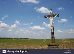 alsace region france statue of jesus christ on a stone cross