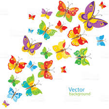 cartoon style butterfly background colorful butterflies in vector