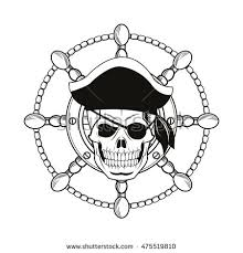 black ink pirate skull with ship wheel tattoo stencil
