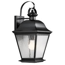 outdoor lighting kichler mount vernon 1 light outdoor wall light in black interiors