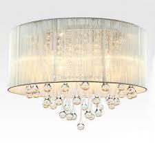 Drum Pendant Light Discount Modern Drum Pendant Light Fabric Shade Rain Drop Crystal