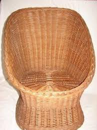 Rattan Accent Chair Vintage Wicker Rattan Accent Chair Pod Scoop Egg Mid Century Tiki