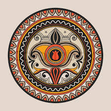 mandala doodle vector geometric decorative plate with