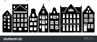 European Style Houses Set Amsterdam Style Houses Laser Cut Stock Vector 659013448