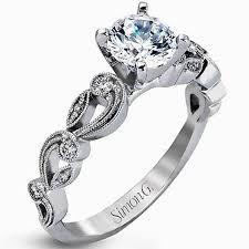 engagement rings vintage style simon g 18k white gold vintage style engagement ring