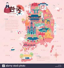 korean design adorable south korea travel map in flat style korea in korean