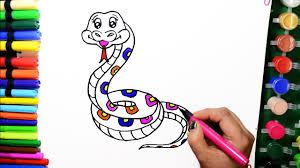 draw color paint snake coloring pages and learn colors for kids