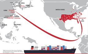 Tianjin China Map Shanghai Charleston Economy Service Averitt Express