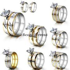 stainless steel wedding rings stainless steel solitaire engagement wedding ring sets ebay