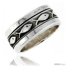 mens spinner rings sterling silver men s spinner ring ichthus christian fish design
