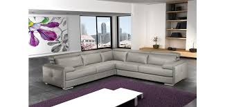 Sectional Gray Sofa Gary Leather Sectional Sofa In Ash Grey