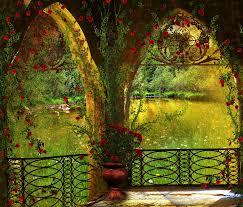 Flower Garden Chairs Pond Park Garden Furniture Arch Tree Flower Hd Wallpaper