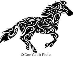 tribal horse tattoo racing horse stallion in tribal style