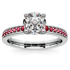 engagement rings with birthstones pave ruby gemstone engagement ring in white gold