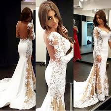 see through white lace prom dresses long mermaid prom dresses