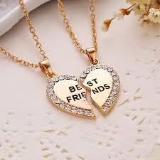 best friend heart necklace images Best friends forever bff heart necklace pendant teen women jpg