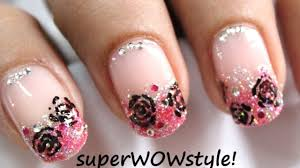 toothpick roses dreamy pink glitter tip french manicure nail