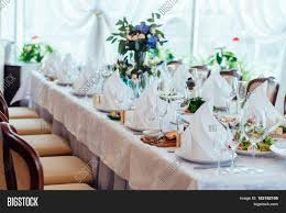 table setting table served for wedding banquet close up view