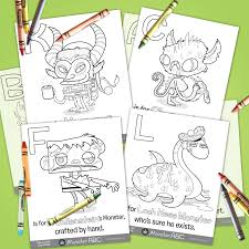 26 monster abc coloring pages u2014 hazy dell press