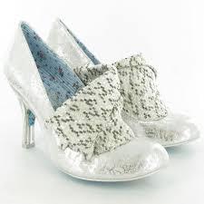 Wedding Shoes Irregular Choice Irregular Choice Leather 4009 Mrs Blewett Bow Court Shoes In Silver