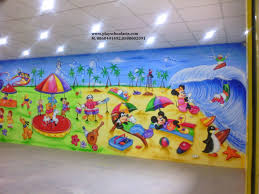 Large Kids Rug by Play School Wall Painting 3d Cartoon Sea Beach Theme Loversiq