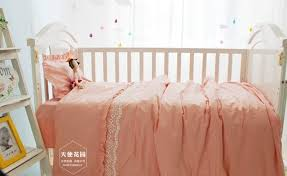 baby cute lace cot bedding set newborn pink color crib bedding