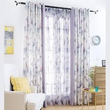 Purple Floral Curtains Pastoral Style Purple Floral Print Cotton Blend Living Room Curtains