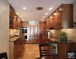 kitchen mesmerizing rich brown kraftmaid cabinetry in corridor