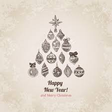 New Year Christmas Tree Decorations by Christmas Tree Decorations Set New Year Handdrawn Engraving Style