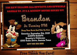 mickey mouse cowboy invitationcowboy birthday partycowgirl
