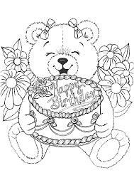 coloriage anniversaire nounours gâteau et fleurs
