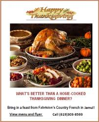 bring home a country thanksgiving feast from fabrison s in