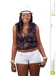 young african american woman standing tight shorts royalty free