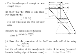 aerodynamic chord 2 for linearly tapered swept or un 25 mac swept chegg com
