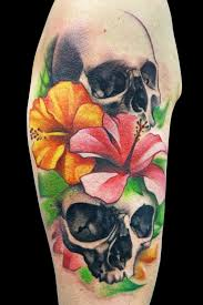 flowers and skull tattoo by maximo lutz design of tattoosdesign