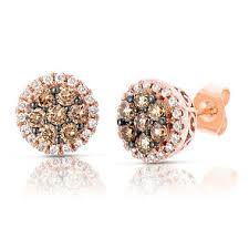 gold diamond stud earrings 70 ct t w fancy brown diamond stud earrings in 14k gold