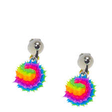 kids clip on earrings rainbow clip on drop earrings s