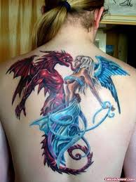 red dragon and angel tattoos on back tattoo viewer com