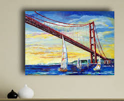 sailboats under golden gate bridge san francisco painting by