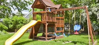 Swings For Backyard Refinishing A Wood Swing Set Doityourself Com
