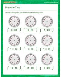 draw the time u2013 free time printables for 3rd grade u2013 math blaster