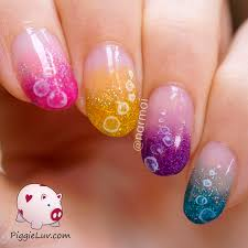 piggieluv glitter bubbles nail art with opi color paints u0026 sheer