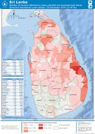 Map Of Sri Lanka Sri Lanka Number Of Persons Affected By Heavy Rainfall And