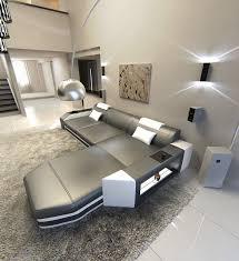 Modern L Sofa Modern L Shaped Sofa Dallas With Led Lights Leather Sofa Grey