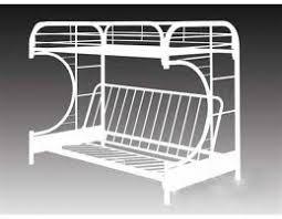 White Twin Futon Metal Bunk Bed - Metal bunk beds with futon
