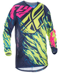 fly motocross jersey kinetic mesh relapse hi vis blue pink jersey fly racing