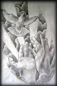 half sleeve cross dove n praying hands tattoo design